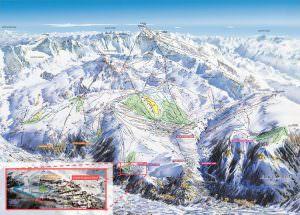 overzicht van Alpe d'Huez Grand Domaine Ski dat de centrale ligging van Villard Reculas met Chalet Rouge ou Blanc laat zien
